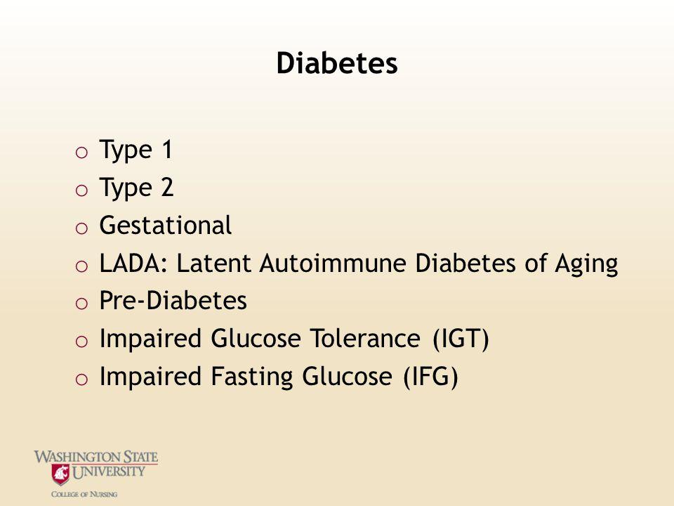 Diabetes Type 1 Type 2 Gestational