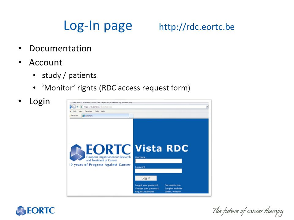 Log-In page http://rdc.eortc.be