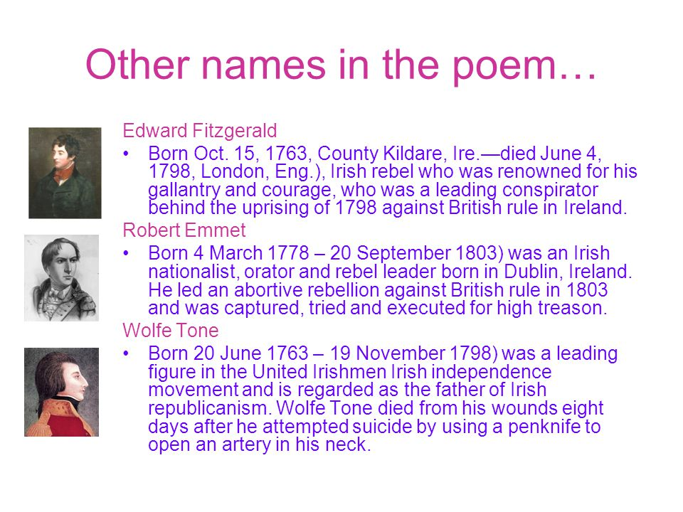 Other names in the poem…