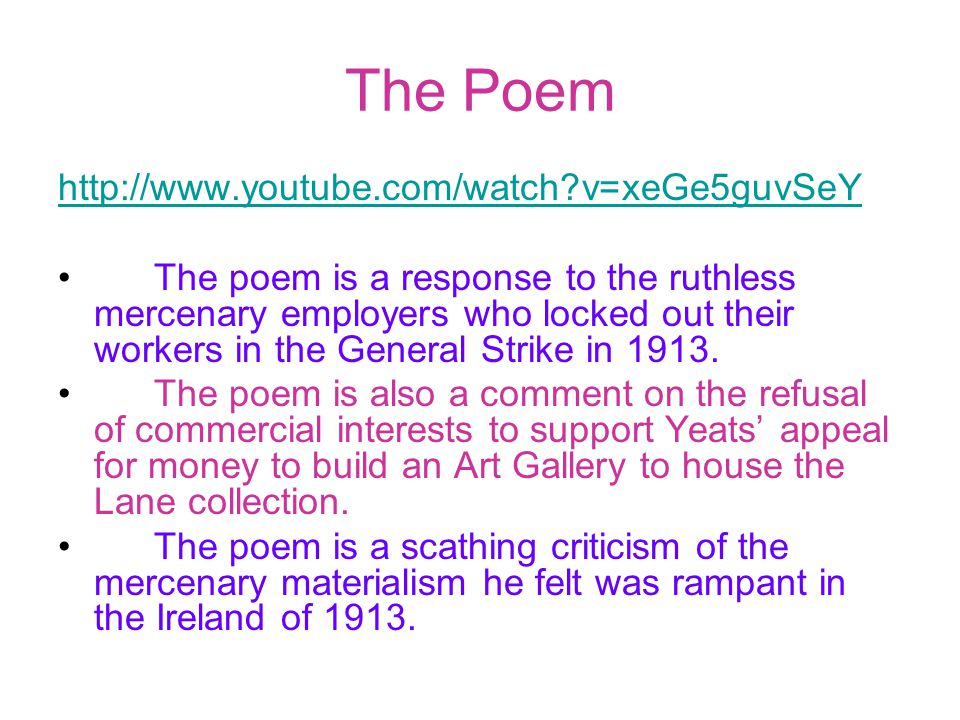 The Poem http://www.youtube.com/watch v=xeGe5guvSeY