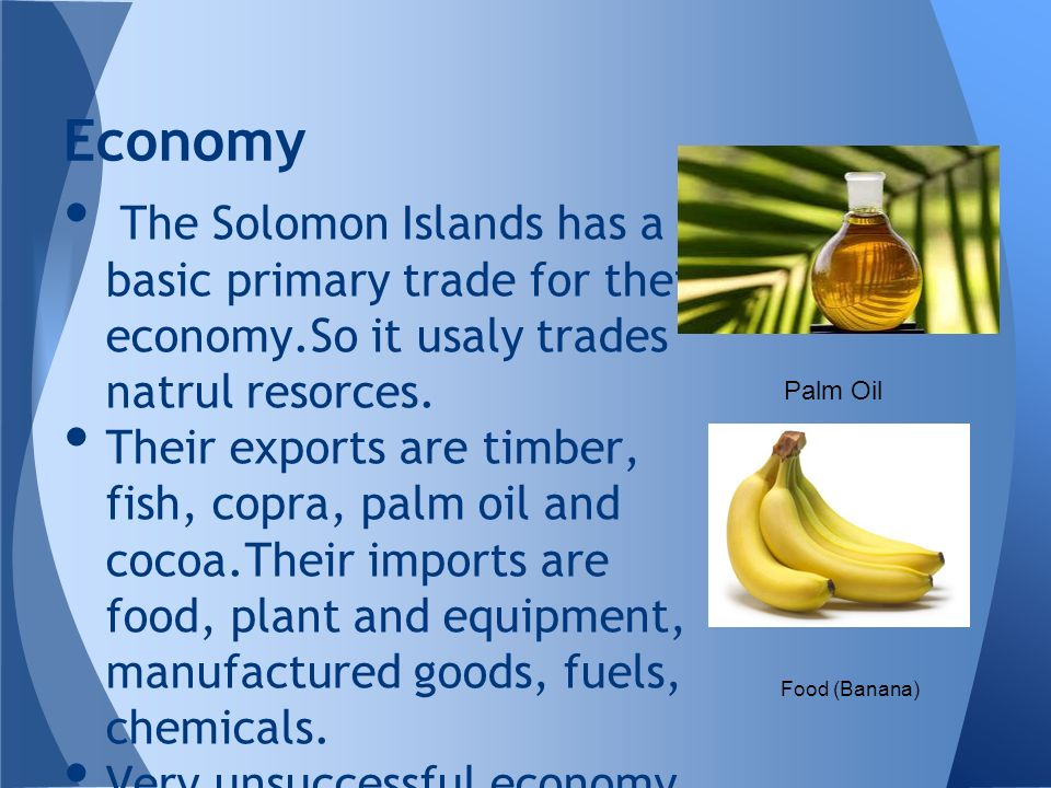 Economy The Solomon Islands has a basic primary trade for their economy.So it usaly trades natrul resorces.