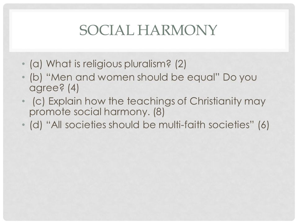 Social Harmony (a) What is religious pluralism (2)