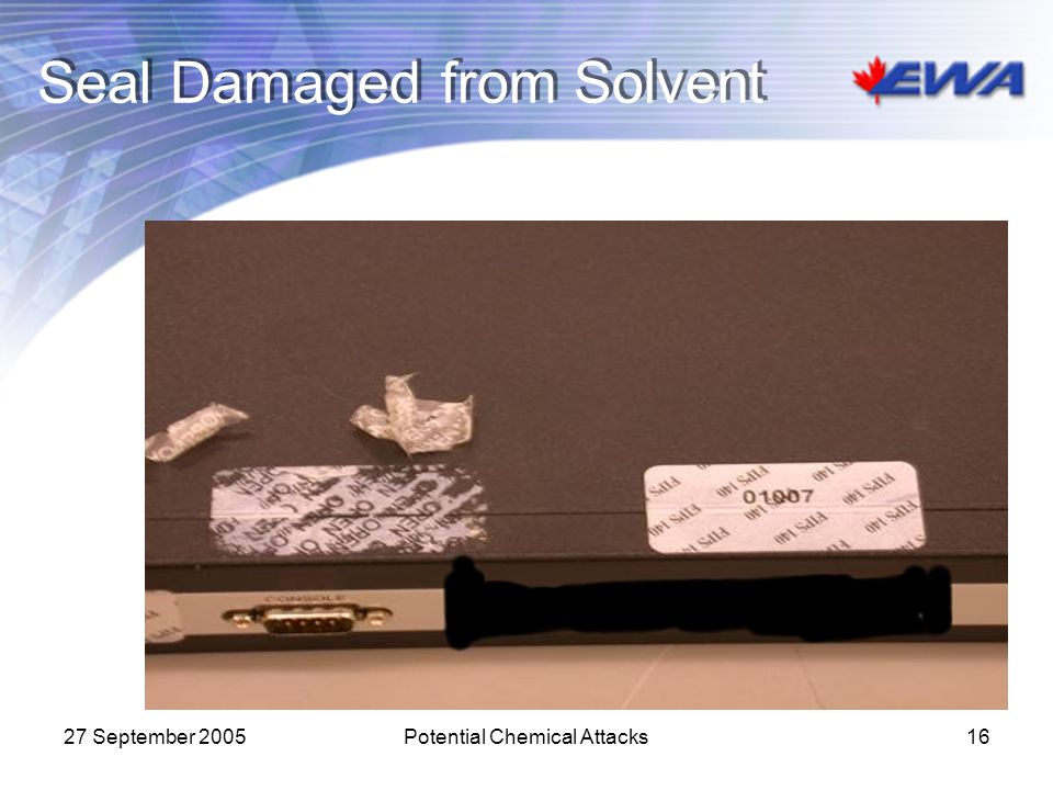 Seal Damaged from Solvent