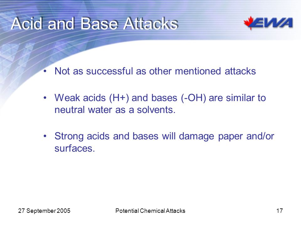 Potential Chemical Attacks