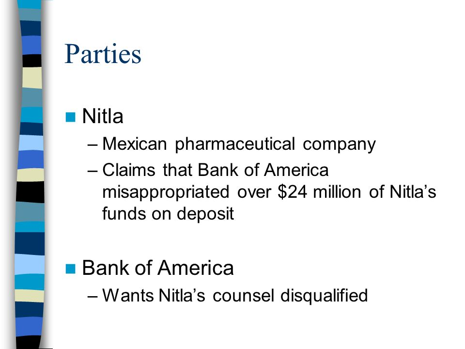 Parties Nitla Bank of America Mexican pharmaceutical company