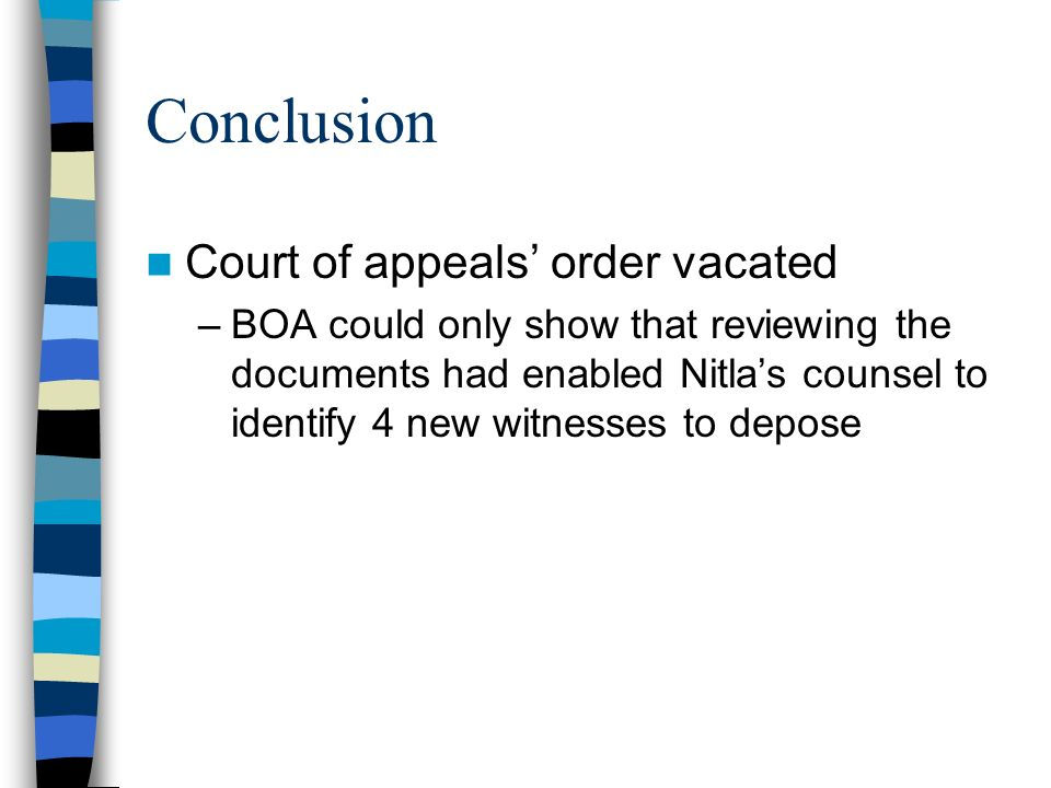 Conclusion Court of appeals' order vacated