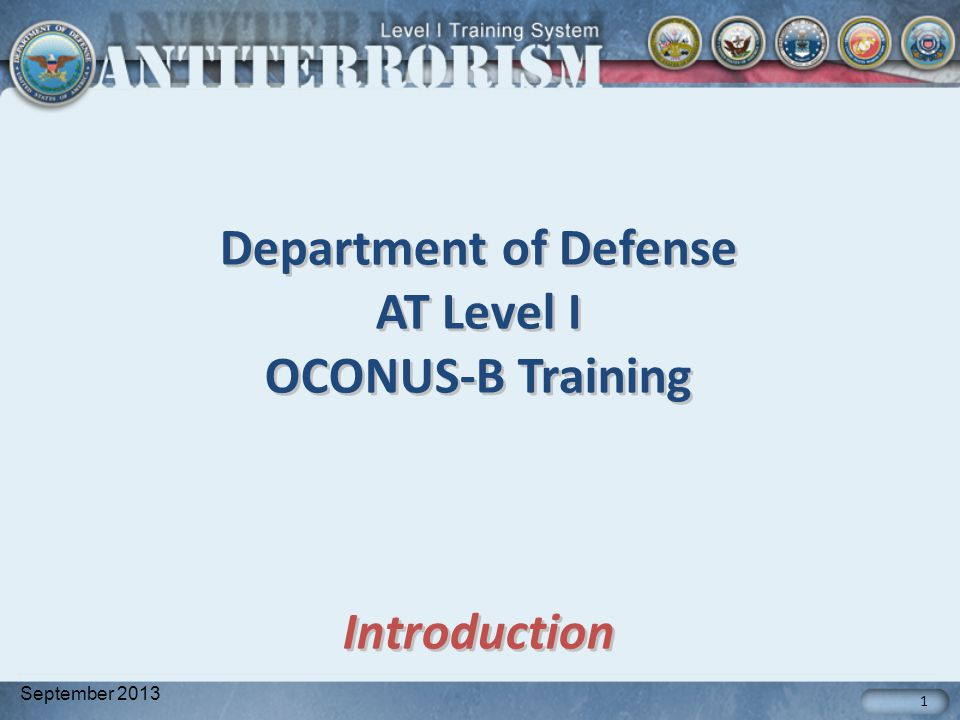 Department of Defense AT Level I OCONUS-B Training Introduction