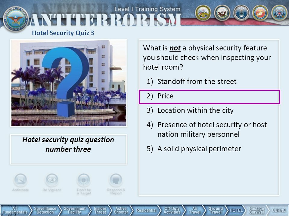 Hotel security quiz question number three