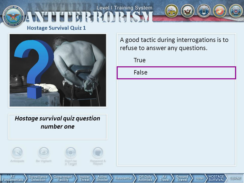 Hostage survival quiz question number one