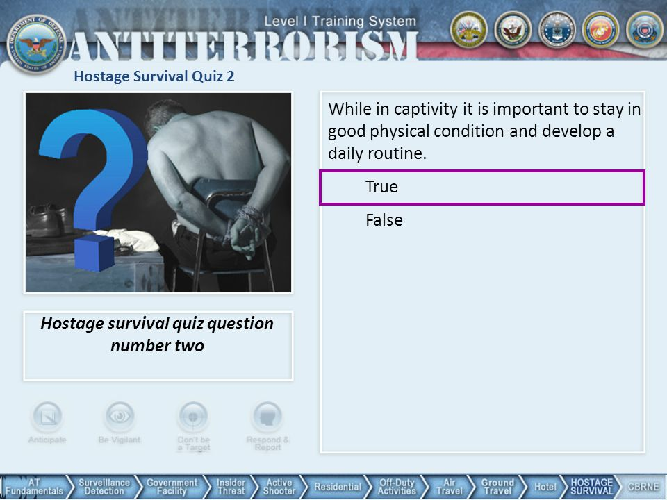 Hostage survival quiz question number two