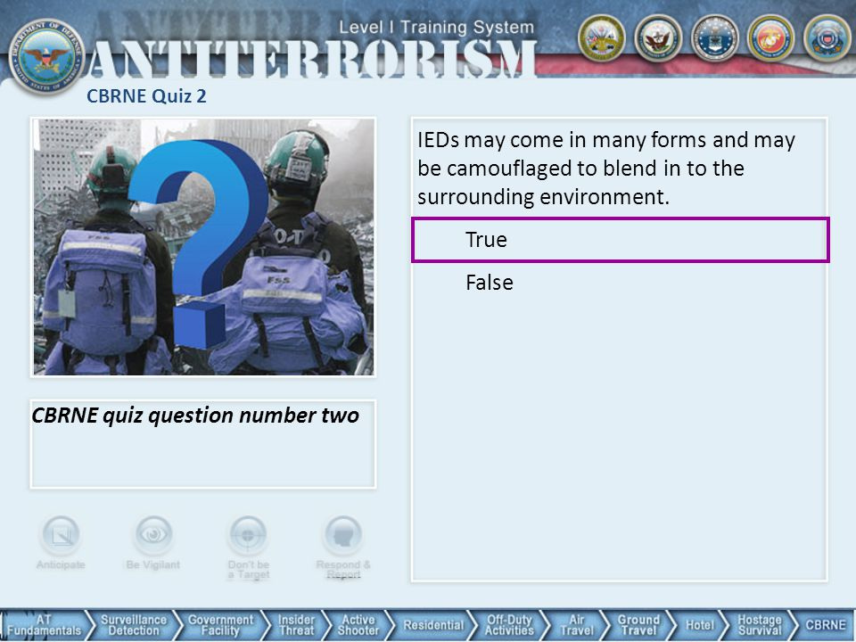 CBRNE quiz question number two