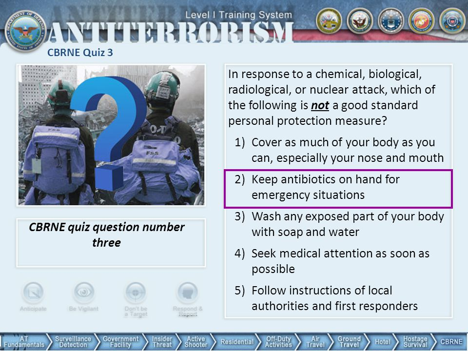 CBRNE quiz question number three