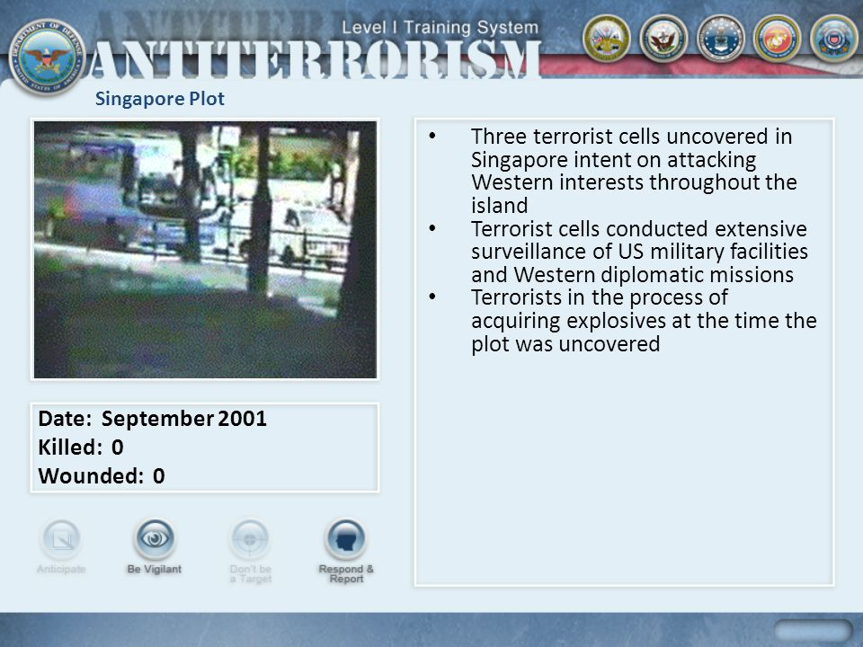 Singapore Plot Three terrorist cells uncovered in Singapore intent on attacking Western interests throughout the island.