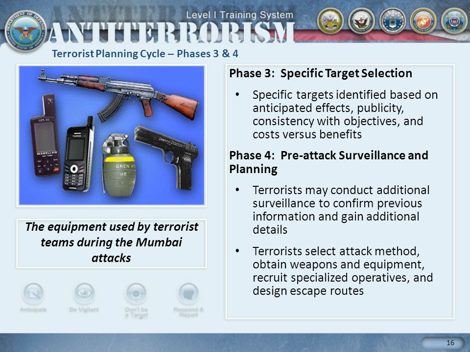 Terrorist Planning Cycle – Phases 3 & 4