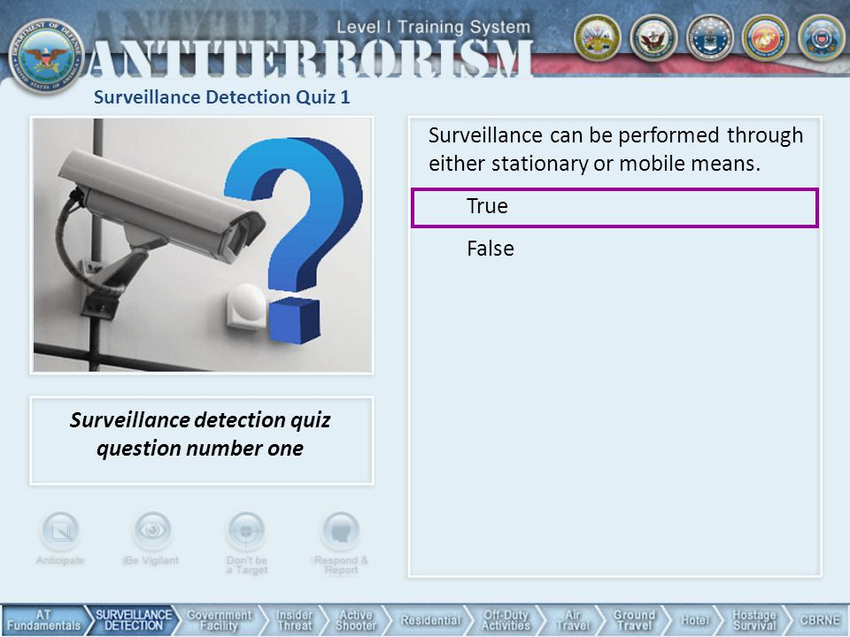 Surveillance Detection Quiz 1