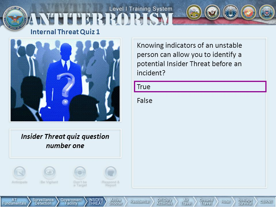 Insider Threat quiz question number one