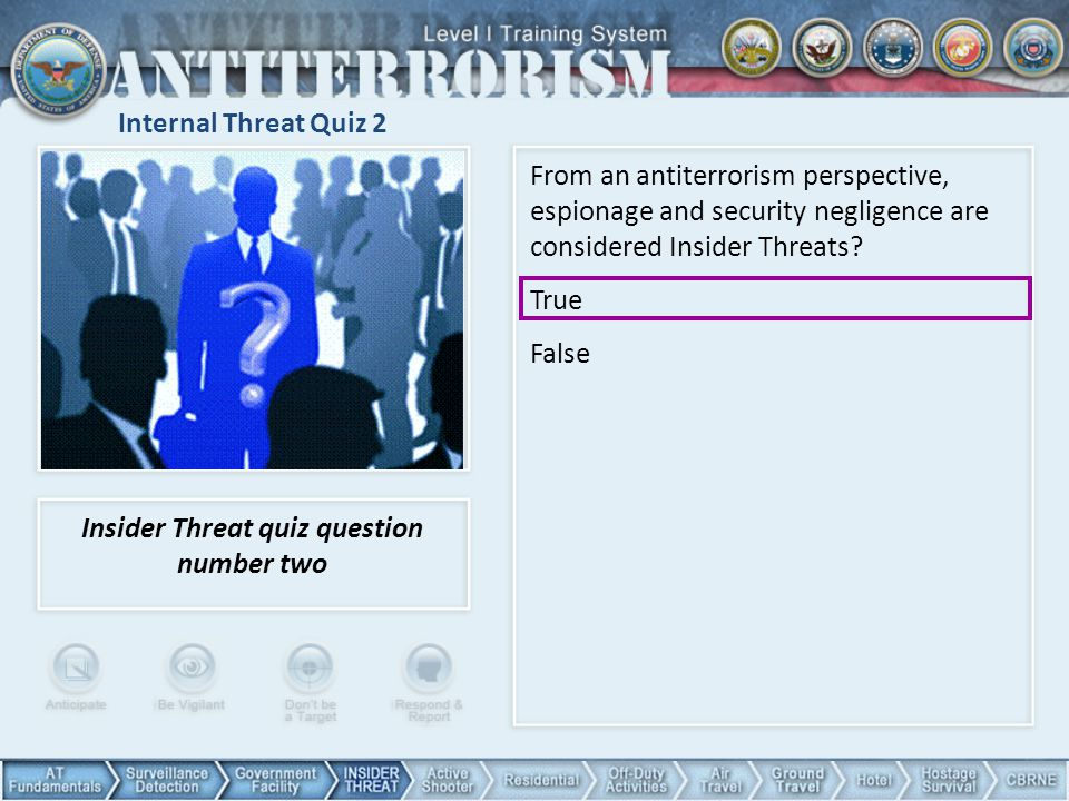 Insider Threat quiz question number two