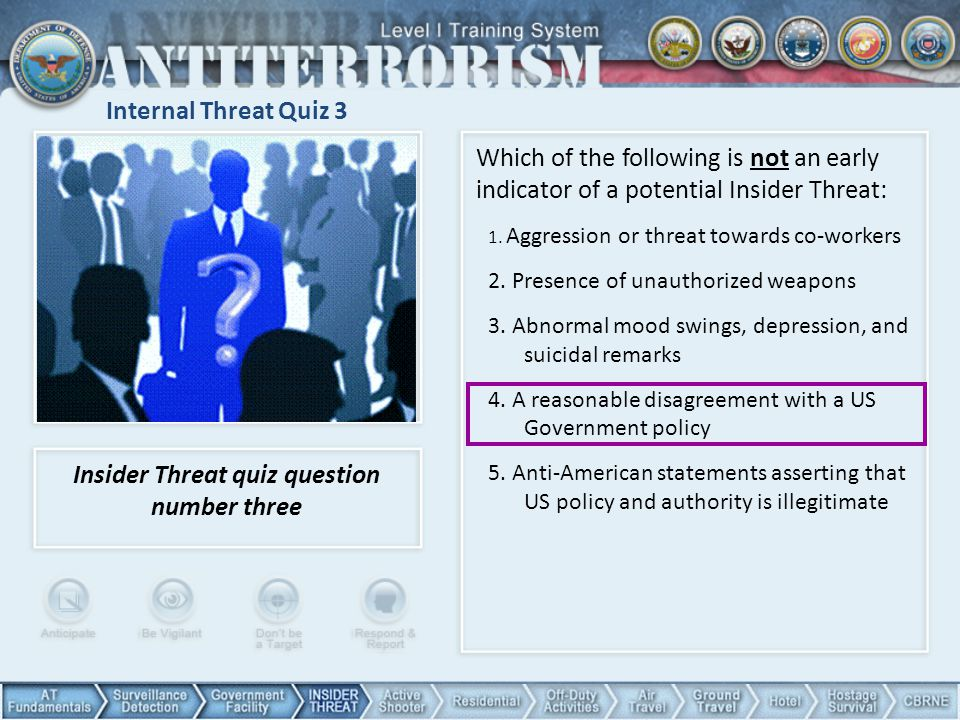 Insider Threat quiz question number three
