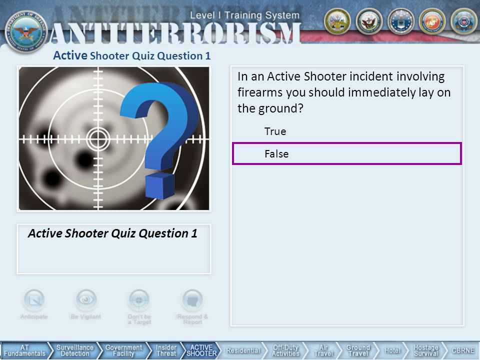 Active Shooter Quiz Question 1