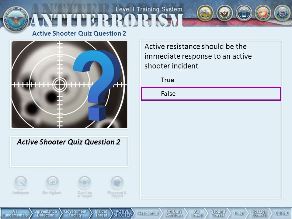 Active Shooter Quiz Question 2
