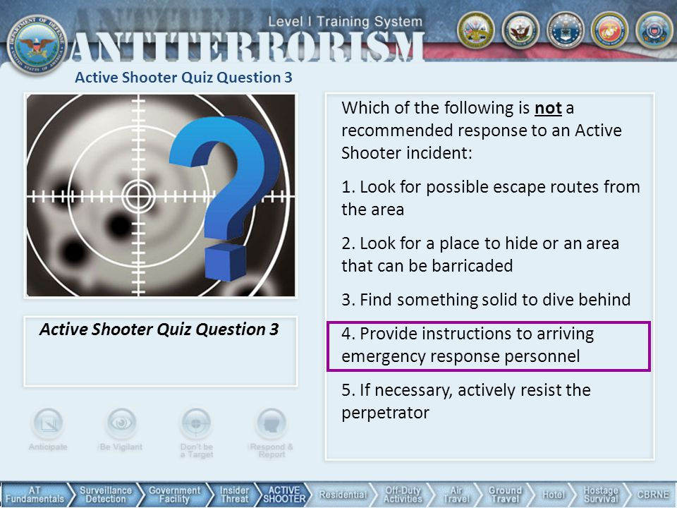Active Shooter Quiz Question 3