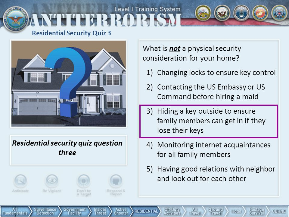 Residential Security Quiz 3