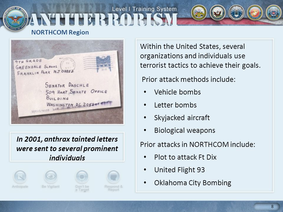 Prior attack methods include: Vehicle bombs Letter bombs