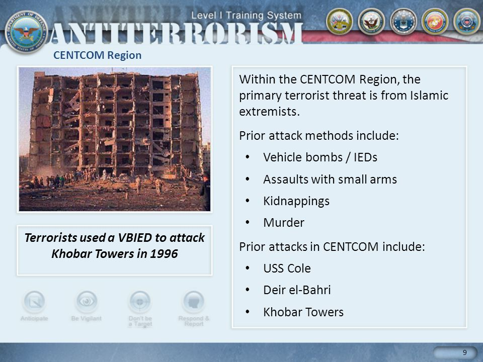 Terrorists used a VBIED to attack Khobar Towers in 1996
