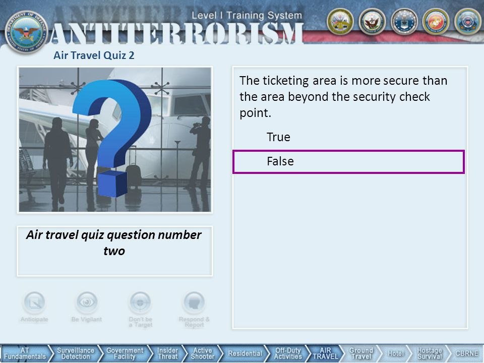 Air travel quiz question number two