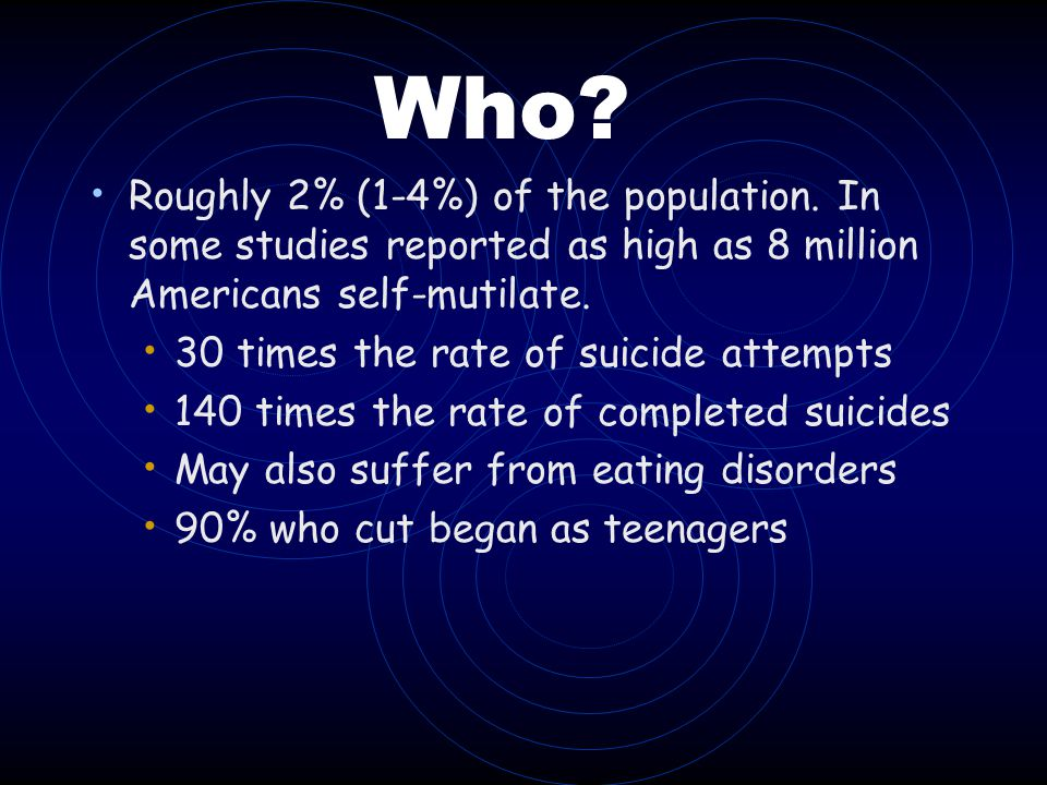 Who Roughly 2% (1-4%) of the population. In some studies reported as high as 8 million Americans self-mutilate.