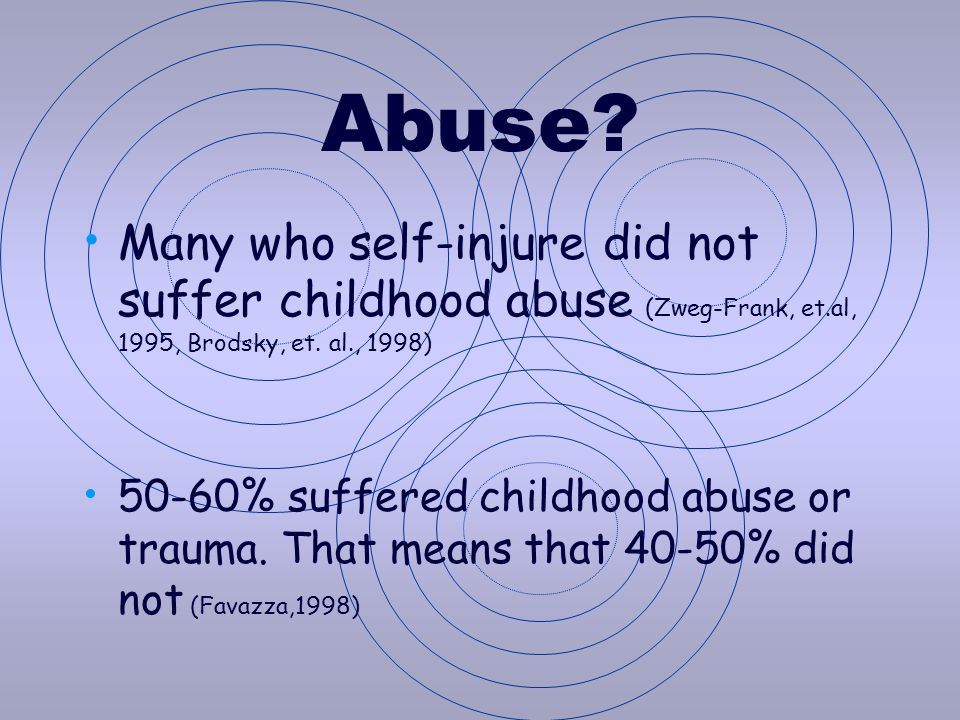 Abuse Many who self-injure did not suffer childhood abuse (Zweg-Frank, et.al, 1995, Brodsky, et. al., 1998)