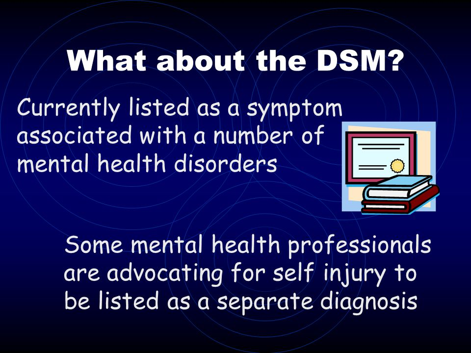What about the DSM Currently listed as a symptom associated with a number of mental health disorders.