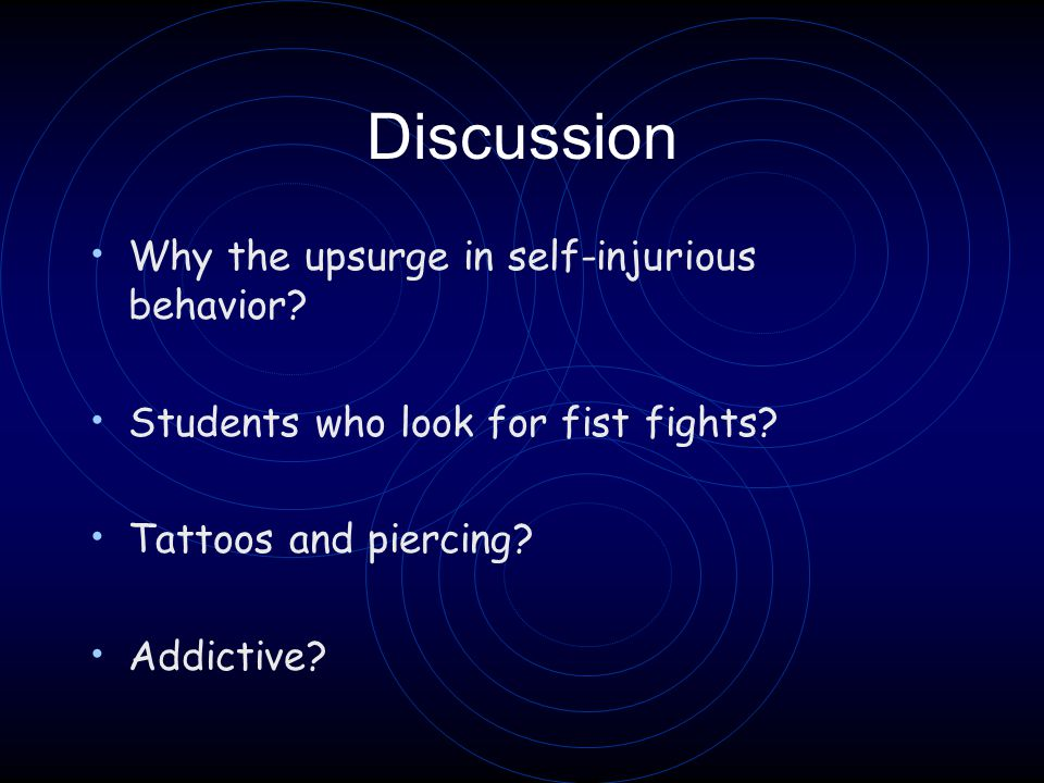 Discussion Why the upsurge in self-injurious behavior