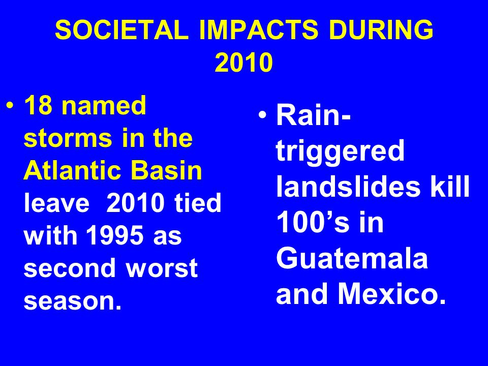 SOCIETAL IMPACTS DURING 2010