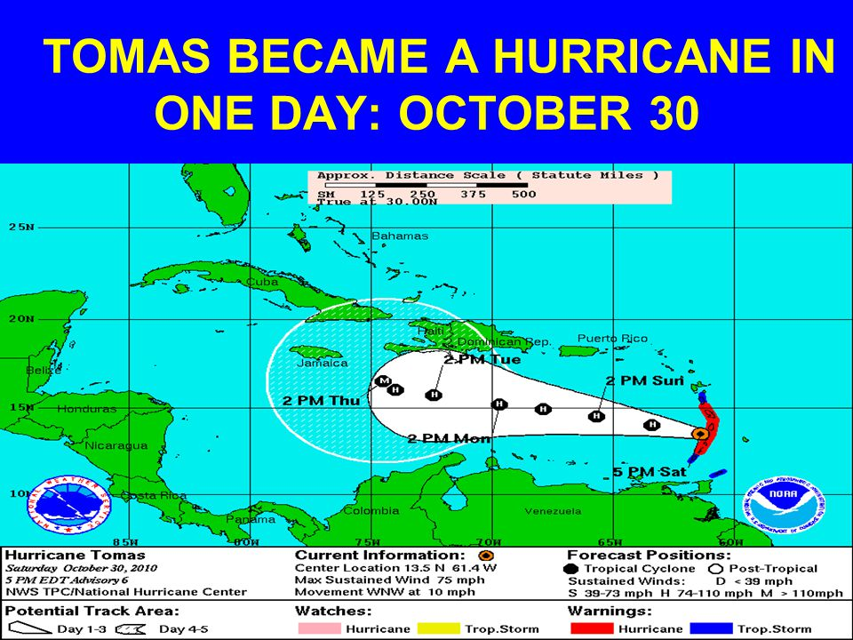 TOMAS BECAME A HURRICANE IN ONE DAY: OCTOBER 30