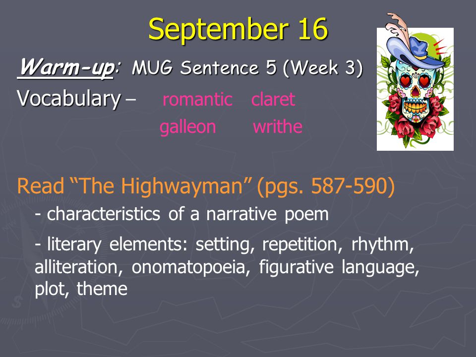 September 16 Warm-up: MUG Sentence 5 (Week 3)