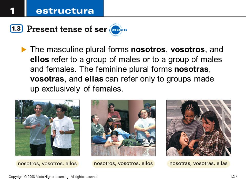The masculine plural forms nosotros, vosotros, and ellos refer to a group of males or to a group of males and females. The feminine plural forms nosotras, vosotras, and ellas can refer only to groups made up exclusively of females.