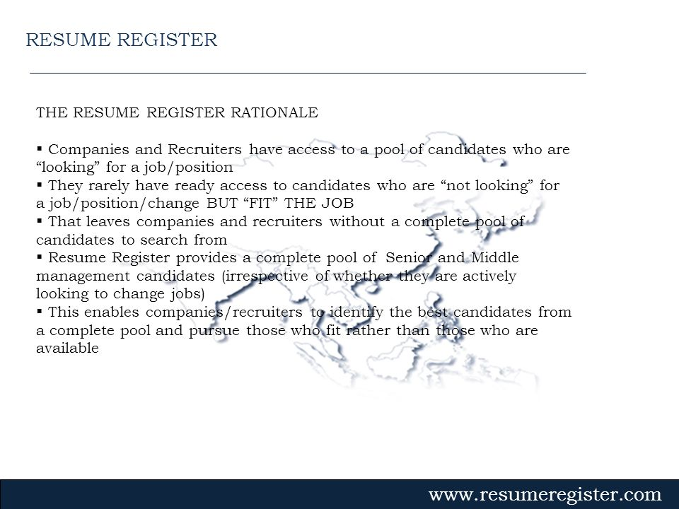 RESUME REGISTER THE RESUME REGISTER RATIONALE