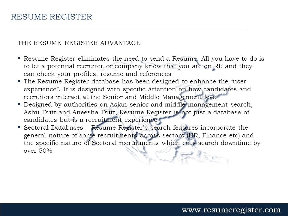 RESUME REGISTER THE RESUME REGISTER ADVANTAGE