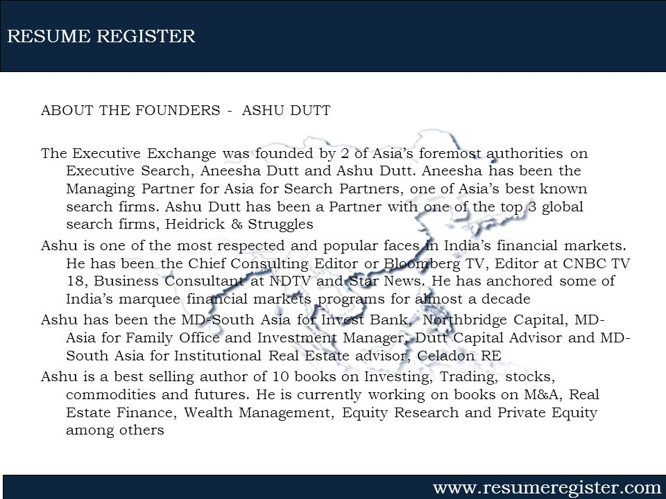 RESUME REGISTER ABOUT THE FOUNDERS - ASHU DUTT