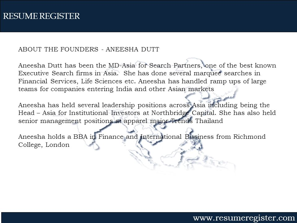 RESUME REGISTER ABOUT THE FOUNDERS - ANEESHA DUTT