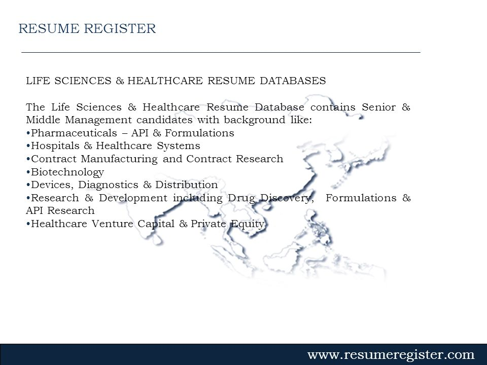 RESUME REGISTER LIFE SCIENCES & HEALTHCARE RESUME DATABASES