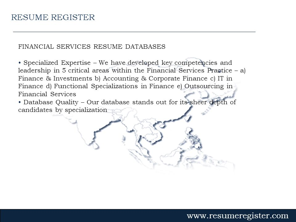 RESUME REGISTER FINANCIAL SERVICES RESUME DATABASES