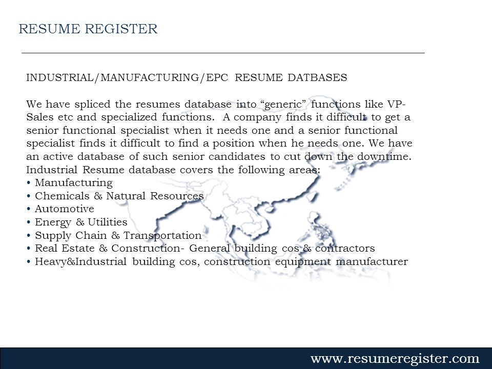 RESUME REGISTER INDUSTRIAL/MANUFACTURING/EPC RESUME DATBASES
