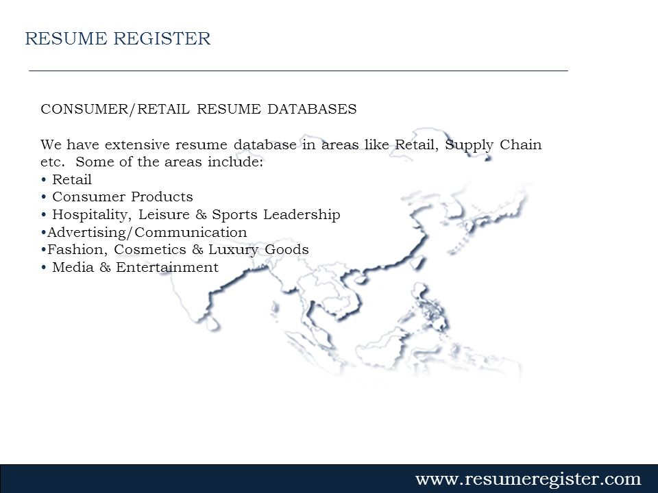 RESUME REGISTER CONSUMER/RETAIL RESUME DATABASES