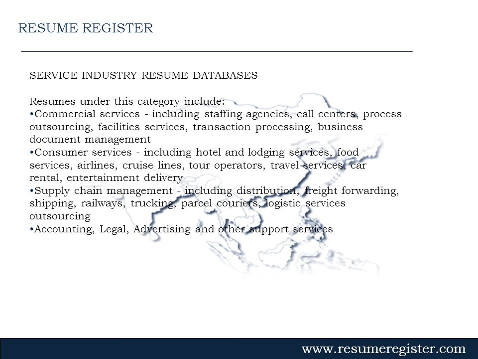 RESUME REGISTER SERVICE INDUSTRY RESUME DATABASES