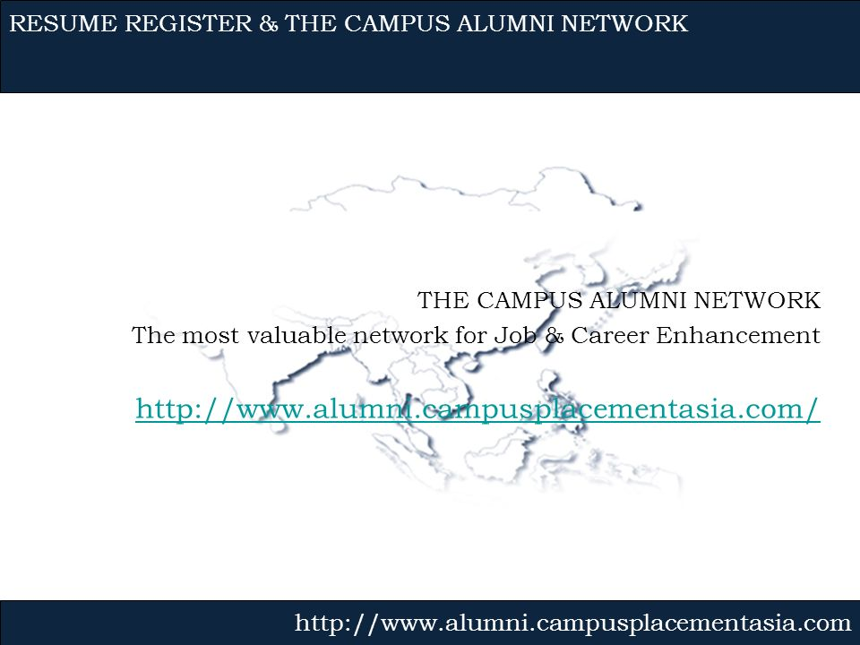RESUME REGISTER & THE CAMPUS ALUMNI NETWORK