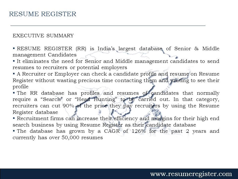 RESUME REGISTER EXECUTIVE SUMMARY