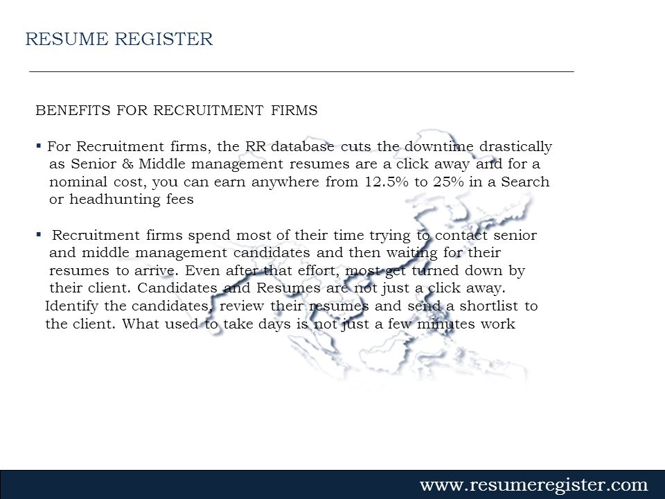 RESUME REGISTER BENEFITS FOR RECRUITMENT FIRMS