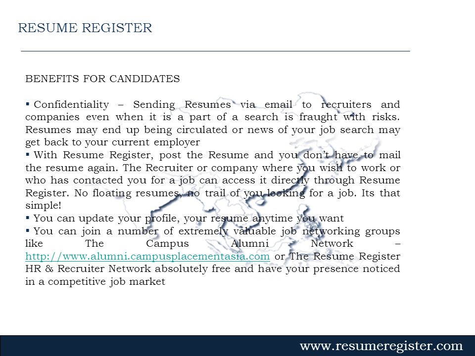 RESUME REGISTER BENEFITS FOR CANDIDATES